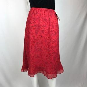 Lapis Red Print  Midi Skirt NWT